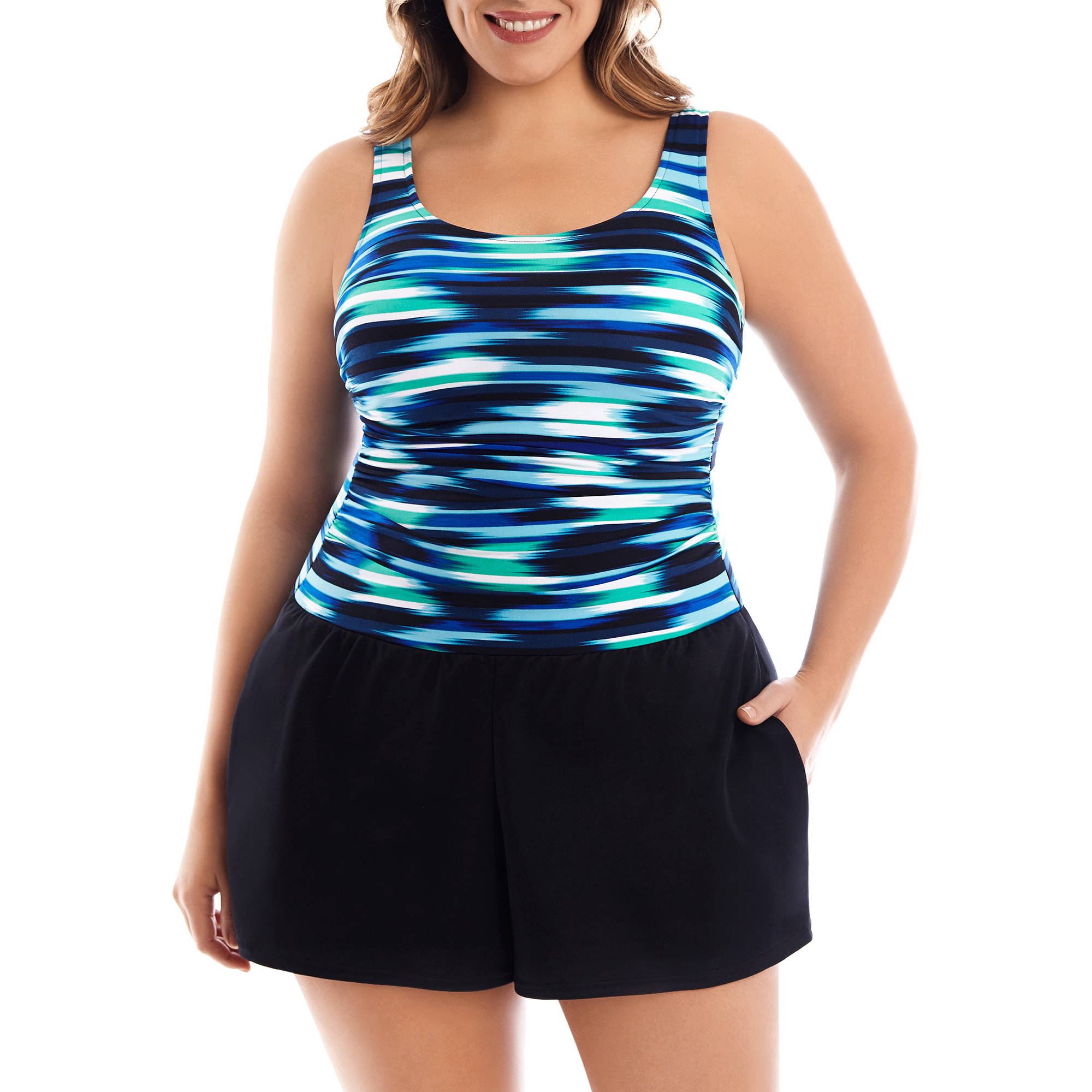 Suddenly Slim by Catalina Women's Plus-Size Slimming Full-Coverage One-Piece Swimsuit With Built-In Swimshorts