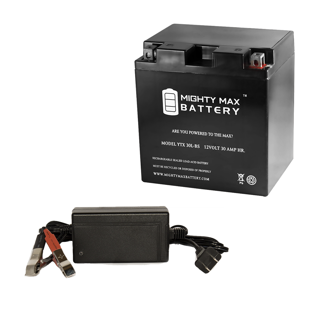 YTX30L-BS Battery for Snowmobile Bombardier Ski-Doo + 12V 4Amp Charger by Mighty Max Battery