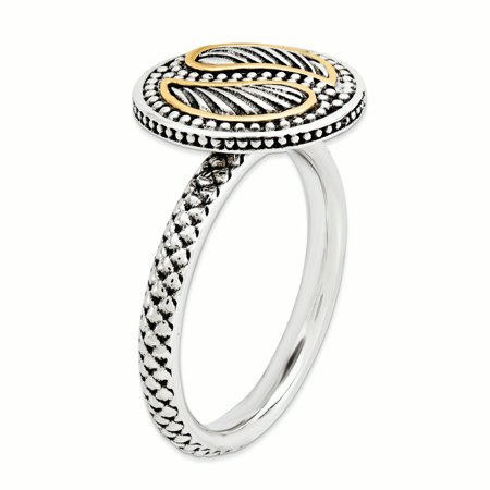 Sterling Silver & 14k Stackable Expressions Antiqued Ring Size 9 - image 1 de 3