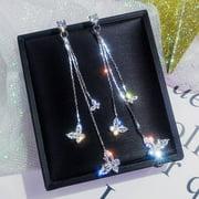 KABOER 1 Pair Shiny Butterfly Artificial Crystal Drop Earring Simple Butterfly Tassel Dangle Earrings For Women Jewelry Gifts