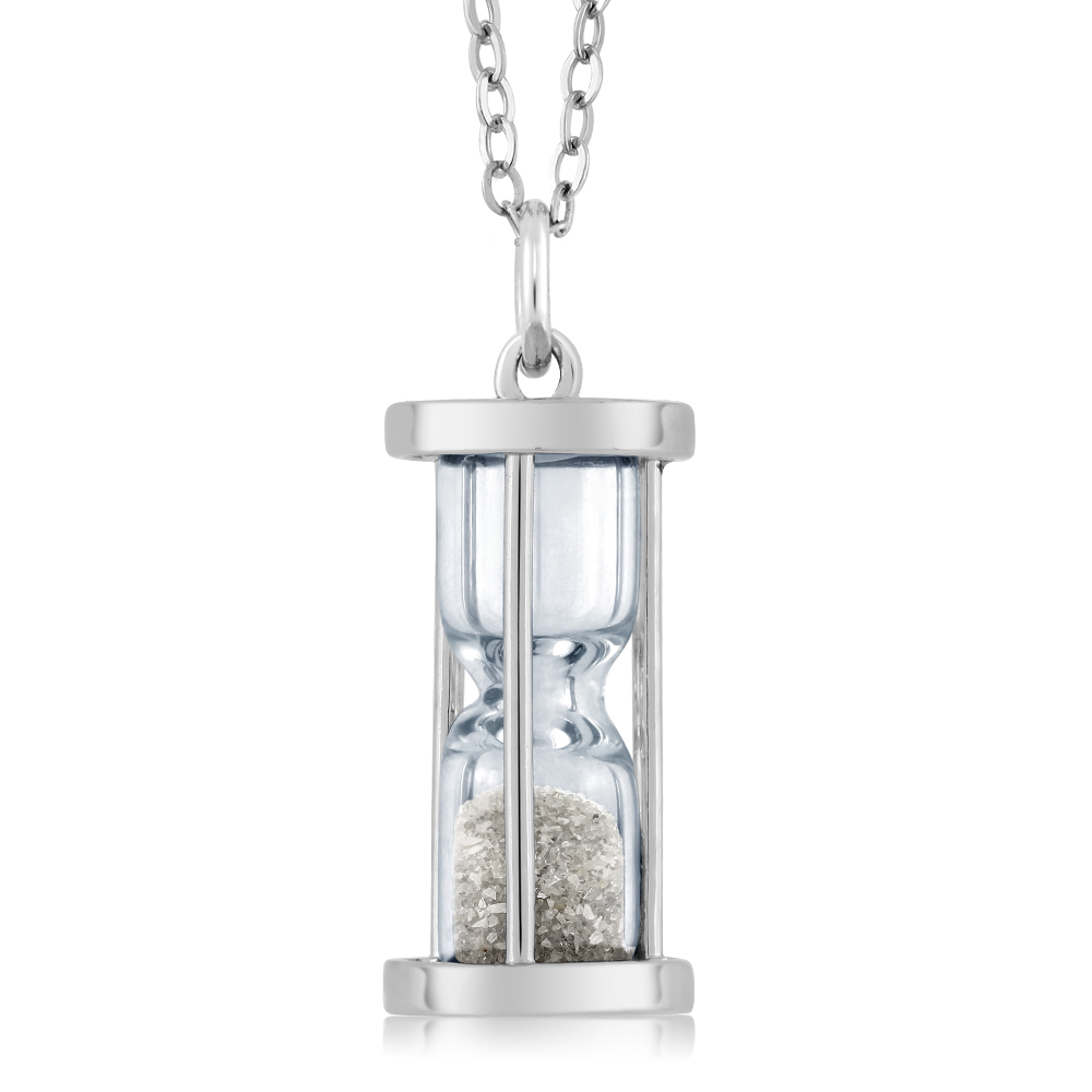 "Sterling Silver Hourglass Pendant with 0.50 Ct Genuine Diamond Dust & 18"" Chain"