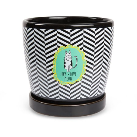 Pavilion - Live Love Meow Cartoon Cat Black Chevron Ceramic Medium Planter Pot with Removable Saucer Ceramic Cat Saucer