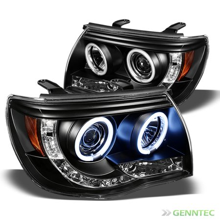 CCFL Halo LED 2005-2011 Toyota Tacoma Projector Headlights Black Head Lights Pair Left+Right  2006 2007 2008 2009 2010 Ccfl Led Projector Headlights