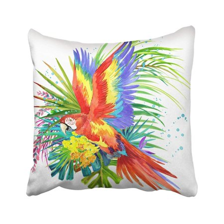 RYLABLUE Colorful Flora Parrot Tropical Forest Watercolor Exotic Jungle Plant Green Fauna Amazon Pillowcase Throw Pillow Cover 18x18 inches - image 1 de 1