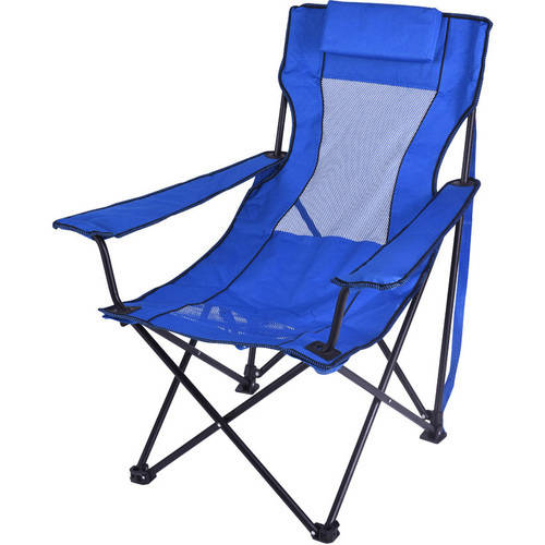 Ozark Trail Folding Lounge Chair with 2 Cup Holders, Blue