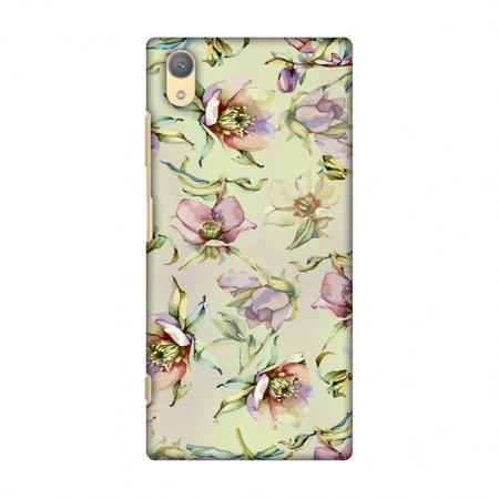 Honey Silver Snap (Sony Xperia XA1 Plus Case - Watercolour poppy- Honey and pale pink, Hard Plastic Back Cover, Slim Profile Cute Printed Designer Snap on Case with Screen Cleaning)