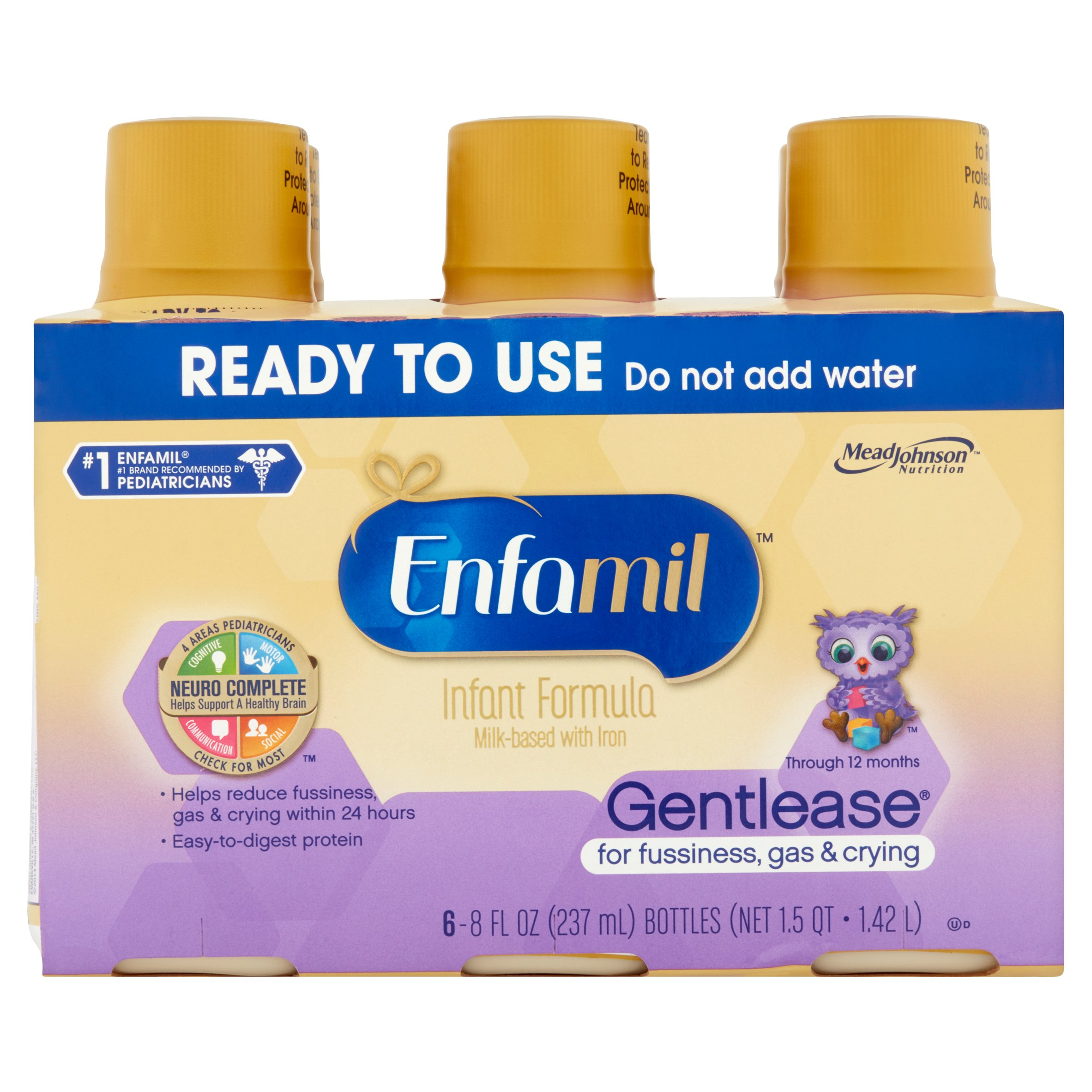 Enfamil Gentlease Baby Formula (24 Pack) Ready-to-Use 8 fl oz Bottles, Clinically Proven to reduce fussiness, gas, crying in 24 hours