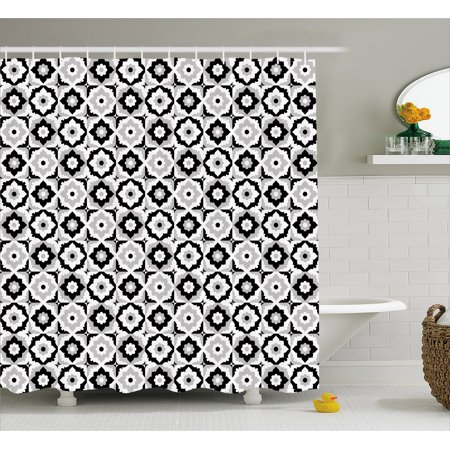 Quatrefoil Shower Curtain Black And White Ceramic Tile Design With Floral Ornaments Retro Daisies