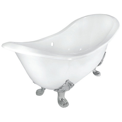 71 in. Double Slipper Cast Iron Tub Less Faucet Holes in White with Lion Paw Feet in White