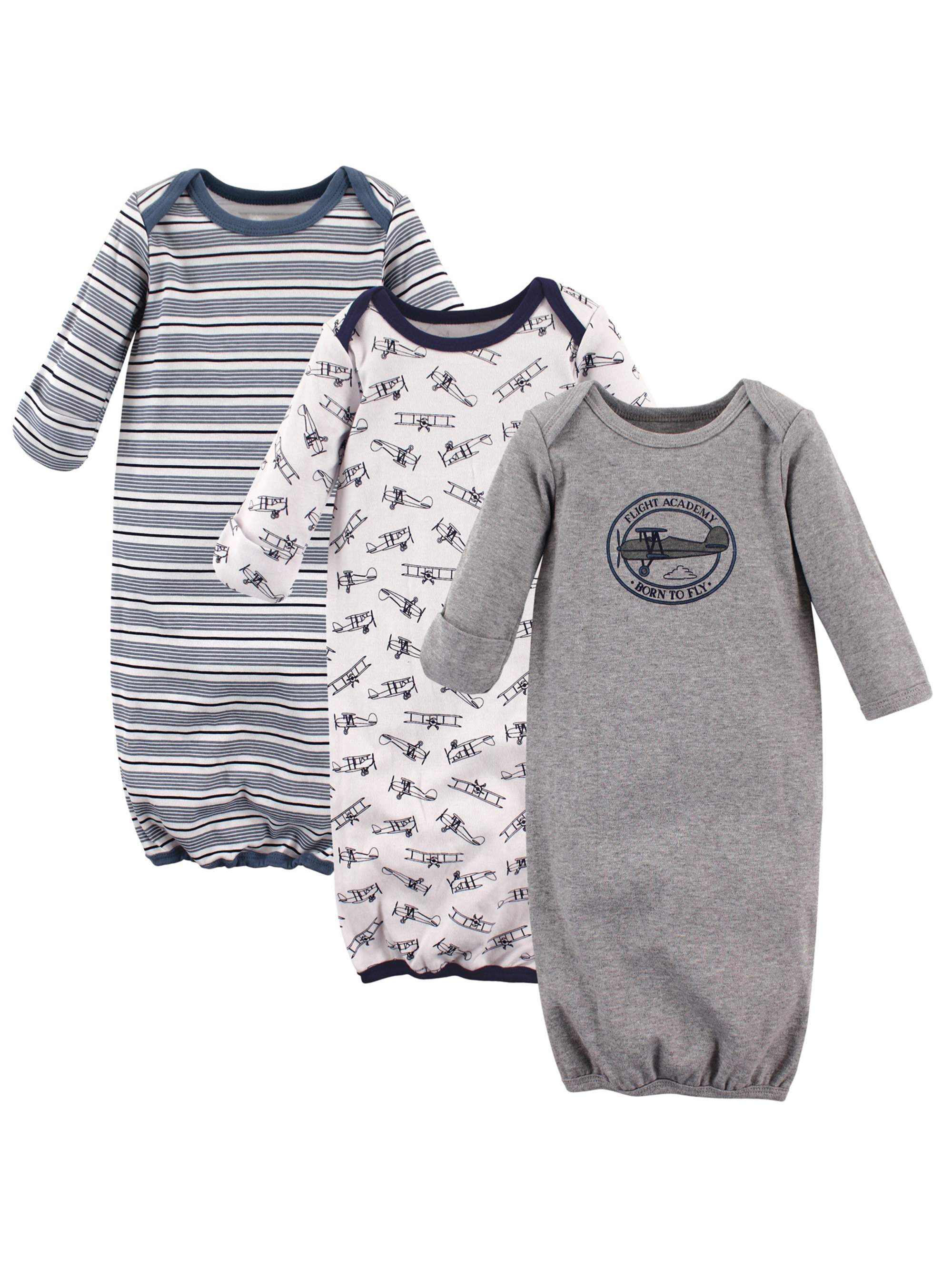 Unisex Baby Boy or Girl Gowns, 3-pack
