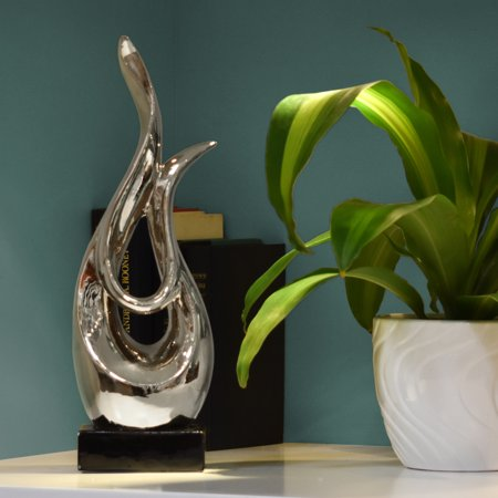 Urban Trends Collection: Ceramic Abstract Sculpture Polished Chrome Finish