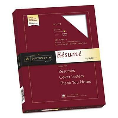 Southworth 100% Cotton Resume Paper, White, 32 lbs., 100 Sheets - Printable Resume