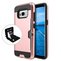 Samsung Galaxy S8 Case Slim Brushed Metal Hybrid Hard Case on TPU w/ Card Slot [Rose Gold/ Black] with Travel Wallet Phone Stand