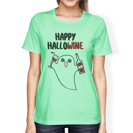 Happy Hallowine Ghost Shirt For Women Halloween Costume T-Shirts