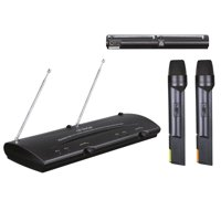 Pyle Pro Dual Channel VHF Professional Wireless Microphone System Set with 2 Handheld Microphones, Receiver Base, etc.