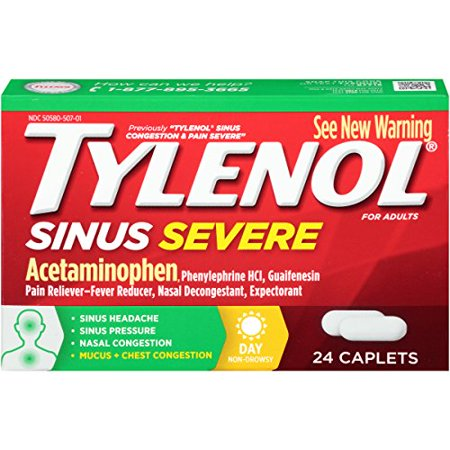 Tylenol Sinus Congestion Pain Severe Daytime Non-Drowsy, 24