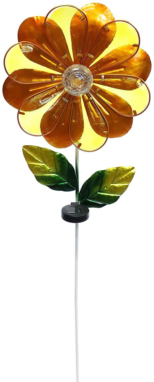 Solar Orange Flower Garden Stake by Alpine Corporation