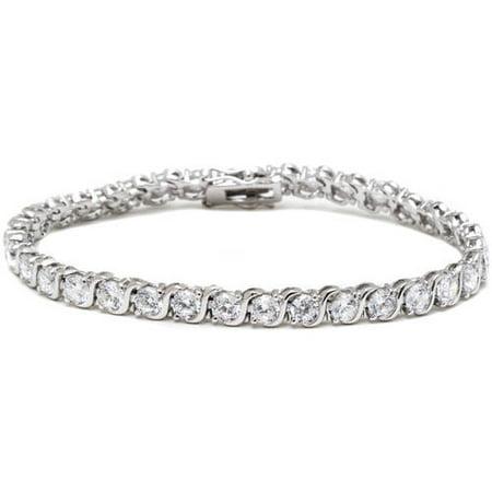 White Swarovski Elements Rhodium-Plated Silver Round-Cut Tennis Bracelet,