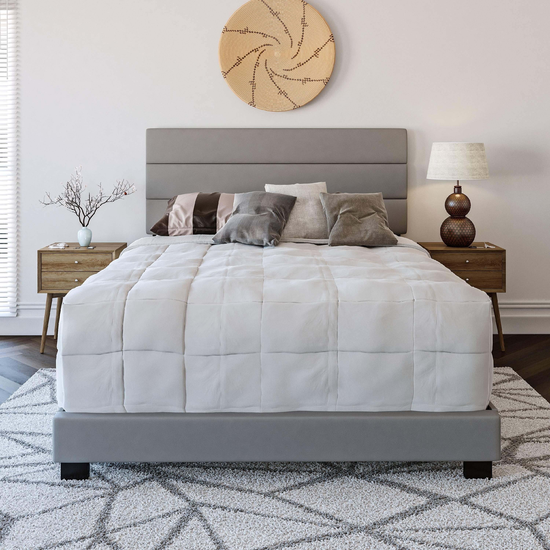 Premier Rapallo Upholstered Faux Leather Tri Panel Channel Headboard Platform Bed Frame King Gray Walmart Com Walmart Com