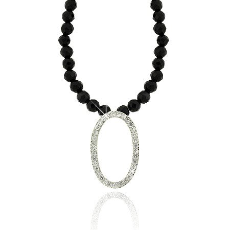 Beaded Onyx (Sterling Silver Faceted Genuine Onyx stone bead Diamond cz Oval Necklace)