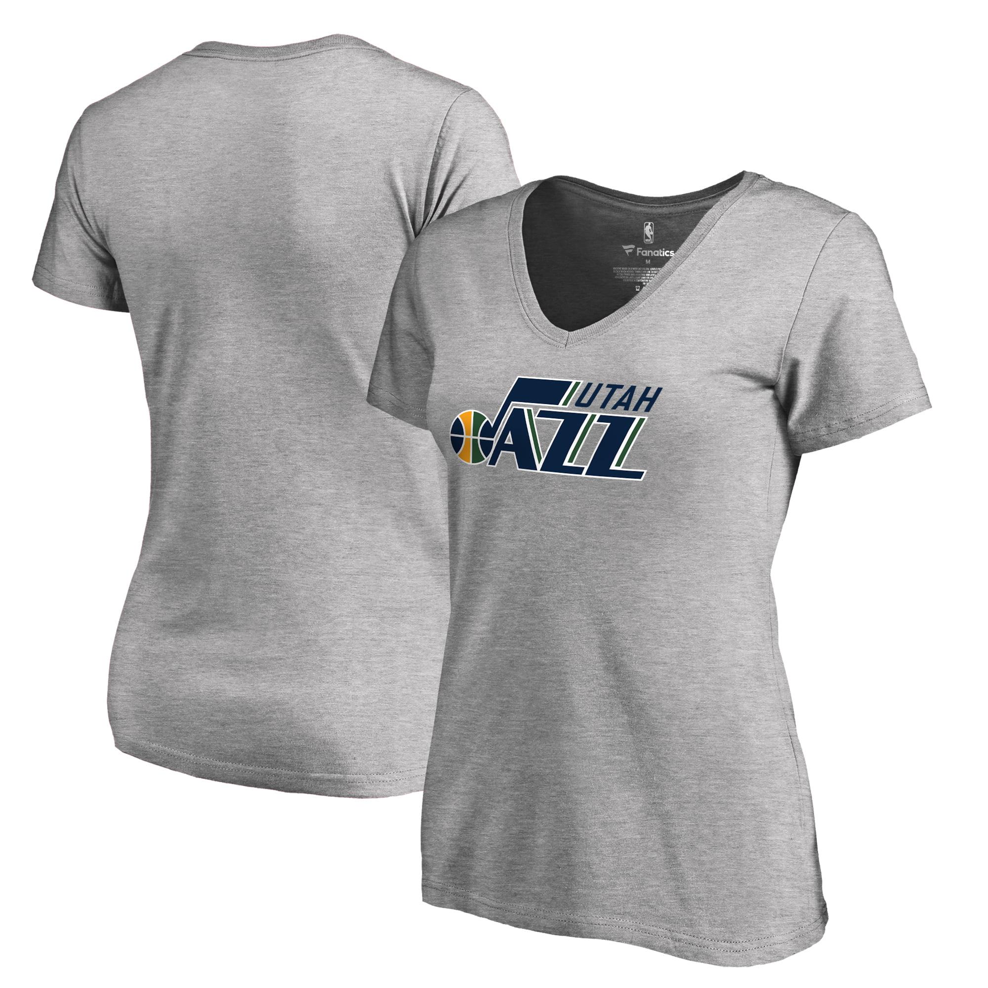 Utah Jazz Fanatics Branded Women's Plus Sizes Team Primary Logo T-Shirt - Ash
