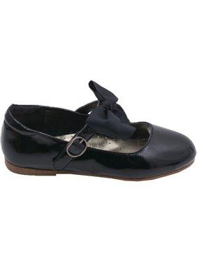 5037a88b5aa1d Product Image L Amour Little Girls Black Grosgrain Bow Flats Dress Shoes  11-4 Kids