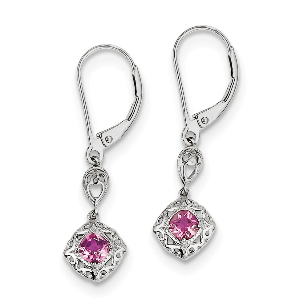 Sterling Silver Dangle Polished Leverback Rhodium-plated Pink Tourmaline Lever Back Earrings by Jewelryweb