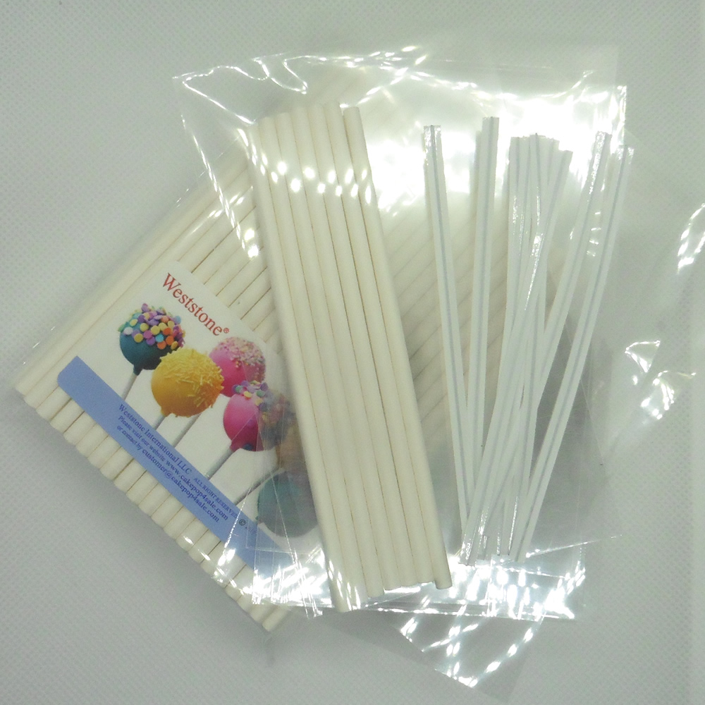 "Weststone - 100pcs 4 1/2"" Lollipop Sticks + 100 Poly Bags + 100 Bright Gold Twist Ties for Cake Pops"