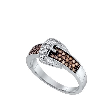 - 10kt White Gold Womens Round Cognac-brown Colored Belt Buckle Diamond Band Ring 1/4 Cttw