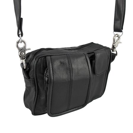 Black Nappa Leather Biker Ride Bag Belt Loop Purse