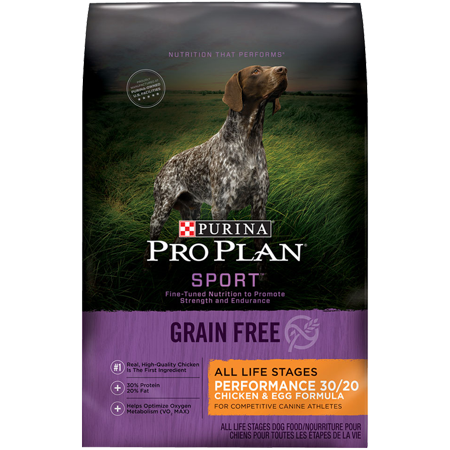 Purina Pro Plan Grain Free, High Protein Dry Dog Food, SPORT Performance  30/20 Chicken & Egg Formula - 24 lb  Bag