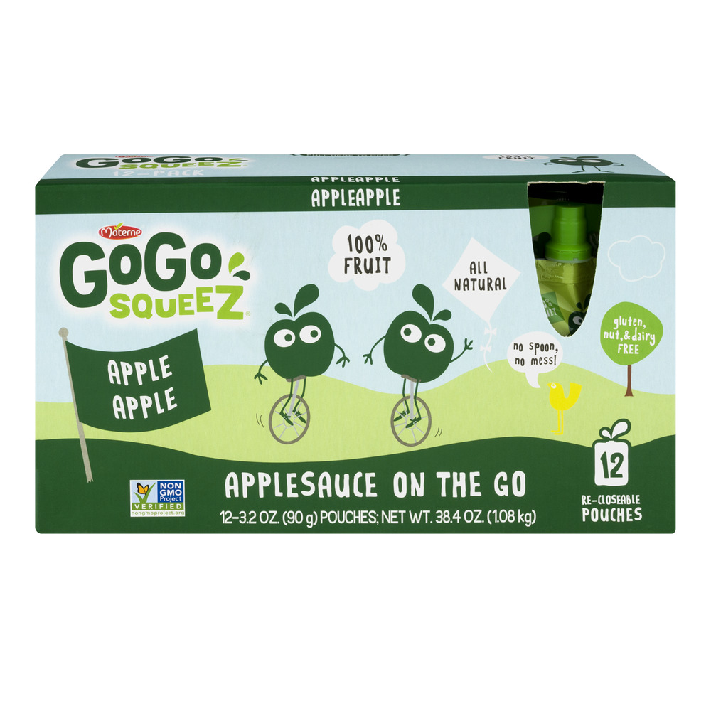 GoGo Squeez Applesauce On The Go Apple Apple - 12 PK, 3.2 OZ