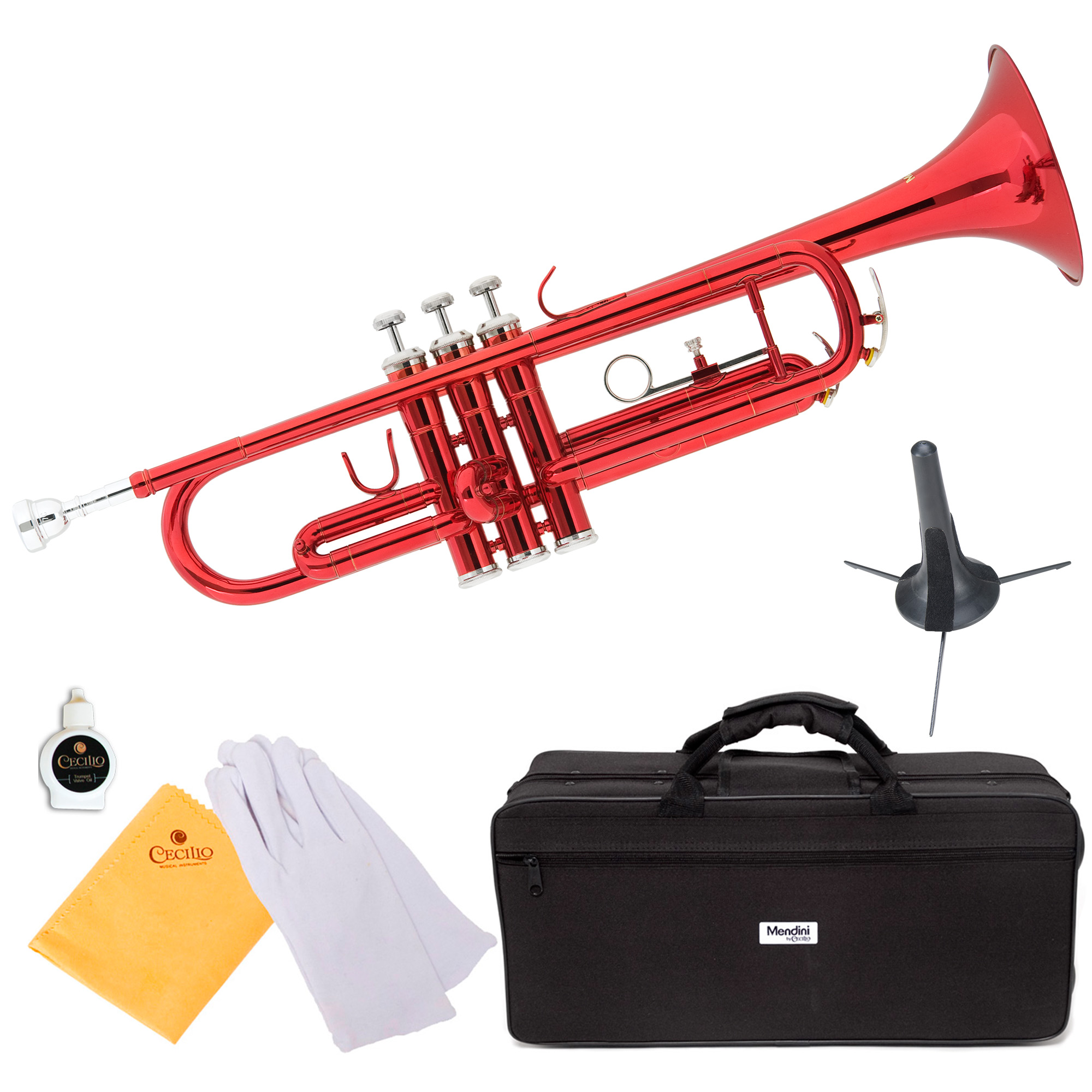 Mendini by Cecilio MTT-RL Red Lacquer Brass Bb Trumpet with Trumpet Stand and Durable Deluxe Case