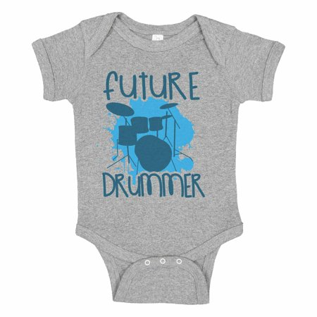 "Cute Musical Instrument Baseball Bodysuit Raglan ""Future Drummer"" Newborn Drum Set Shirt Gift - Baby Tee, 18-24 months, Grey Solid Short Sleeve"