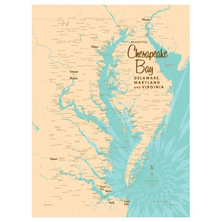 Sailing Chesapeake Bay - Chesapeake Bay MD Virginia Map Vintage-Style Art Print by Lakebound (9