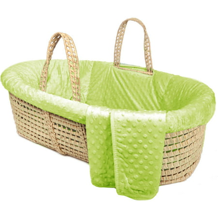 Tadpoles Minky Dot Moses Basket and Bedding Set, Green