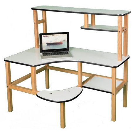 pre school computer desk with optional hutch and printer stand white