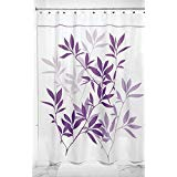 mDesign Leaves Fabric Shower Curtain Stall 54 x 78 Purple