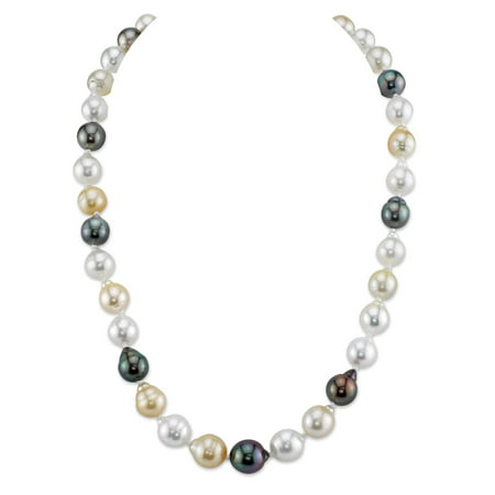 14K Gold 9-11mm South Sea Multicolor Baroque Cultured Pearl Necklace - AAA Quality, 18