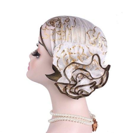 E4hats Lace Hat (KABOER  New Fashion Ruffle Lace Head Wrap Women Muslim Turban Headscarf Hat  Lady )