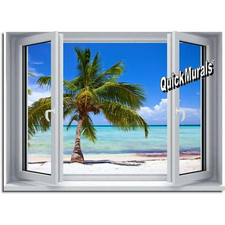 Palm View Window One-piece Peel & Stick Canvas Wall