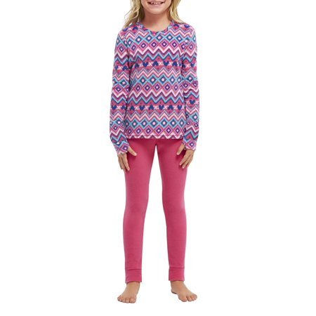 Climate Right by Cuddl Duds Girls Fleece Warm Thermal Underwear with Thumbholes Set