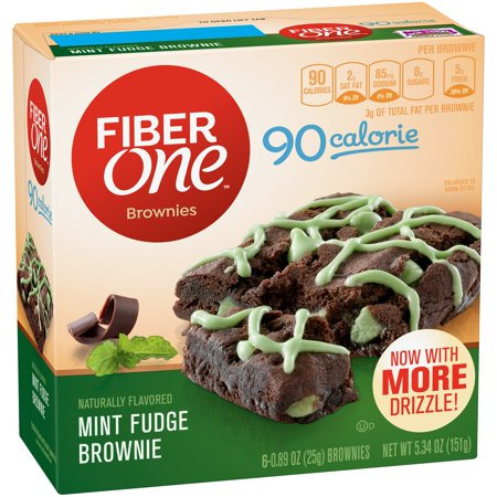 Fiber One 90 Calorie Brownie Mint Fudge 6 - 0.89 oz Bars