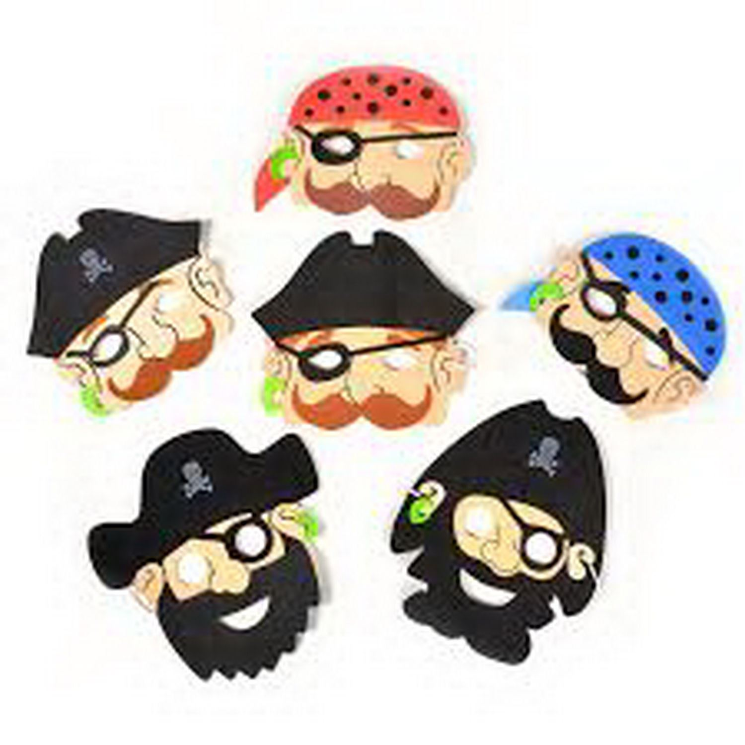 6 Foam Pirate Masks Pinata Toy Loot/Party Bag Fillers Favour Fancy Dress Kids