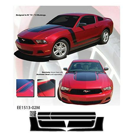 Ford Mustang 2010 to 2012 Gloss Black Dominator Body Stripe Vinyl Graphics (2012 Stripe)