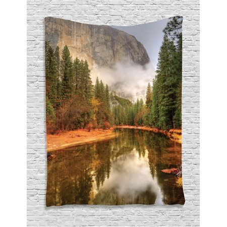 Yosemite Tapestry, Trees Reflections on Merced River Yosemite Valley National Park California in the Fall, Wall Hanging for Bedroom Living Room Dorm Decor, Green, by Ambesonne (Green Bedroom Decor)