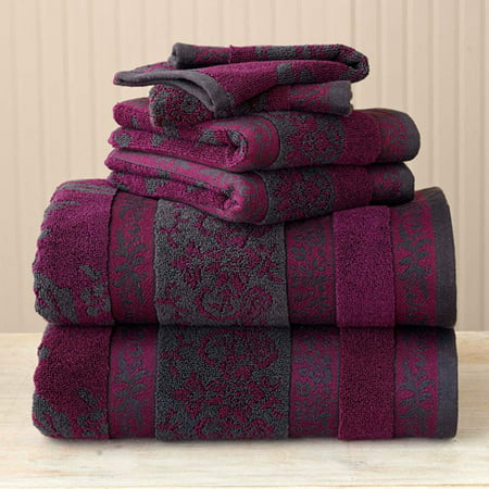 Better Homes And Gardens Thick And Plush 6 Piece Jacquard Cotton Bath Towel Set