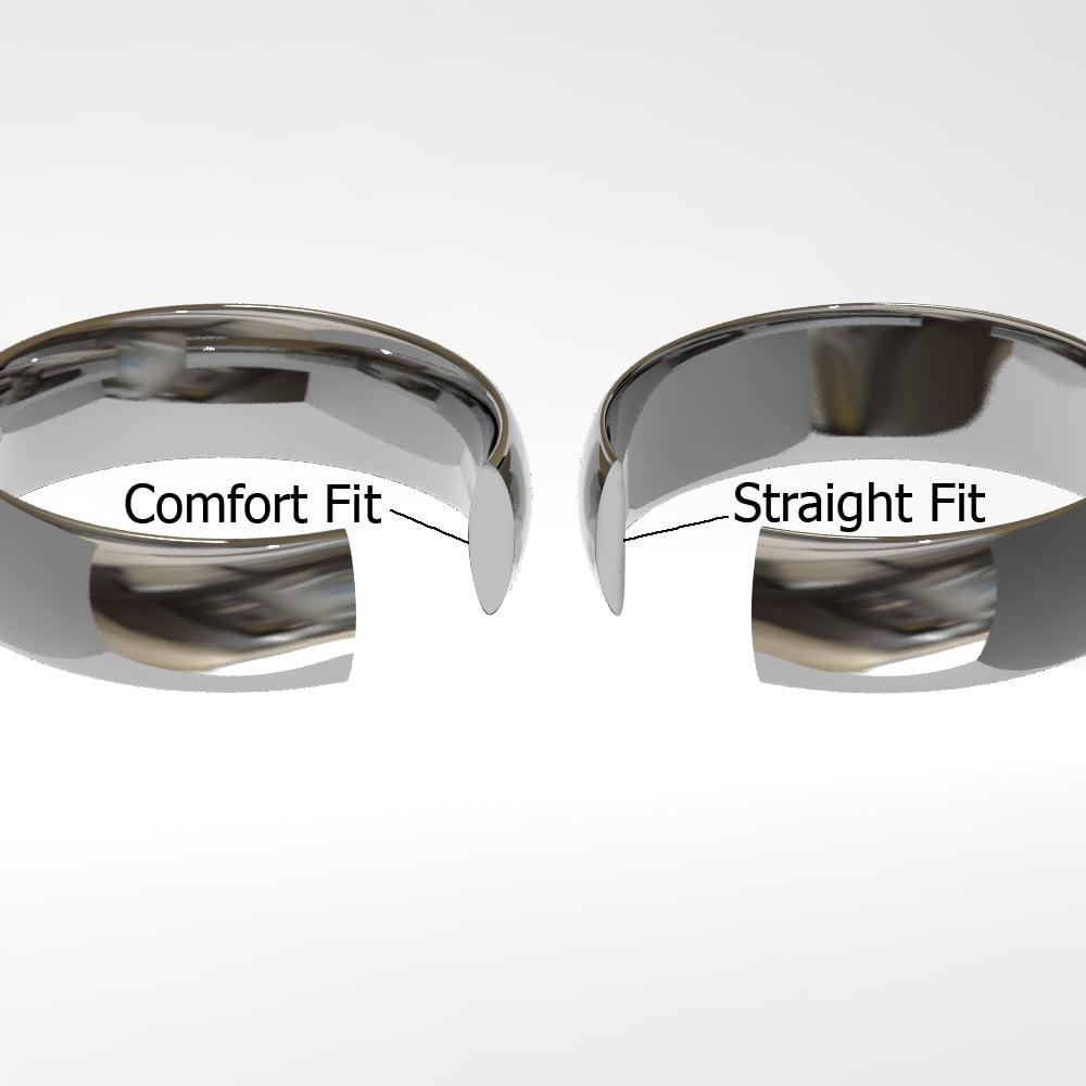 Cobalt XF Chrome 8MM Solitaire Diamond Newport Wedding Band Ring