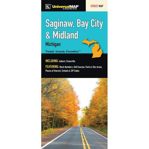 Bay City Mi Zip Code Map.Universal Map Saginaw Bay City Midland Fold Map Walmart Com