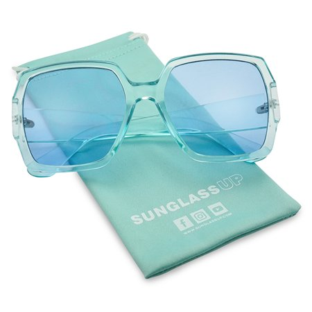 SunglassUP Big Chunky Squared Transparent Candy Color Sunglasses for Women in all (Candies Sunglasses)